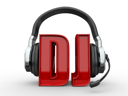 device disc: Text DJ and handphones on white isolated background. 3d