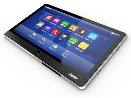 Black tablet pc on white background. 3d photo