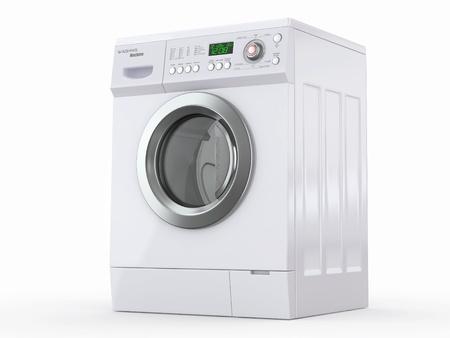 washing clothes: Cerrado lavadora en el fondo blanco. 3d