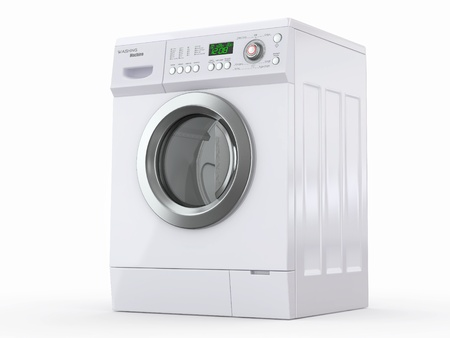 machine: Closed washing machine on white  background. 3d Stock Photo