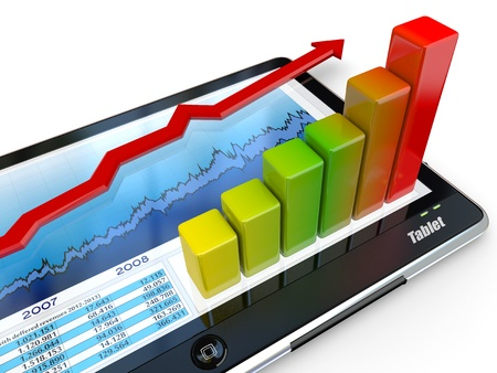 Tablet pc and business graph on the screen. 3d Stock Photo - 11216614