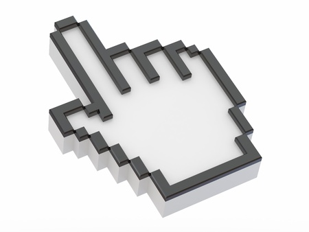 Hand. Mouse cursor on white isolated background. 3d photo