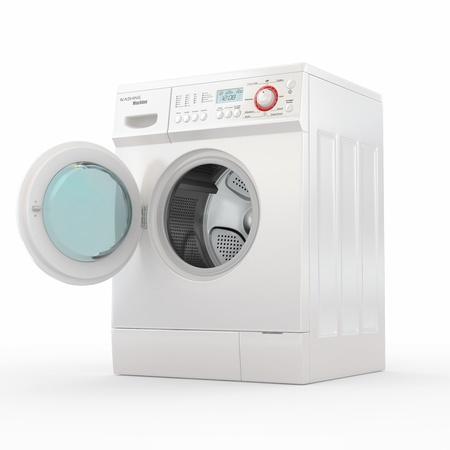 washing clothes: La apertura de la lavadora en el fondo blanco. 3d