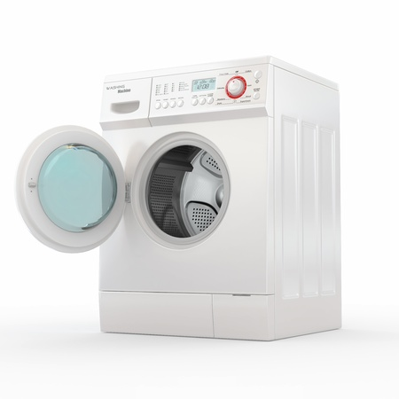 Opening washing machine on white background. 3d photo