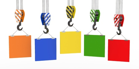 truss: Crane hooks with empty boards on white background. 3d