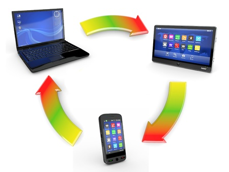 communication. laptop, tablet pc and cellphone. 3d Stock Photo - 11216602