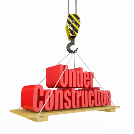 construction crane: under construction. crane lifts the text on white background. 3d