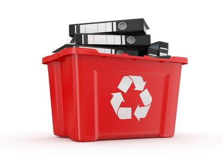 wastebasket: folders in recycle bin on white background. 3d Stock Photo