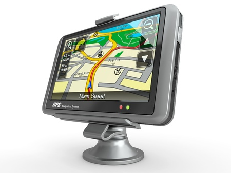 global positioning system: navigation system. gps on white isolated background. 3d