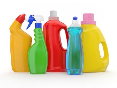 lavar platos: diferentes botellas de detergente en el fondo blanco. 3d