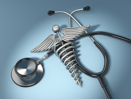 stethoscope with symbol of medicine, caduceus. 3d photo