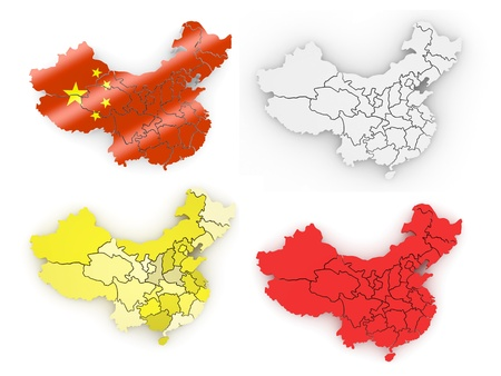 map of china on white isolated background. 3d Stock Photo - 11214842