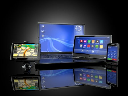 mobile commerce: electronics. laptop, mobile phone, tablet pc and gps. 3d