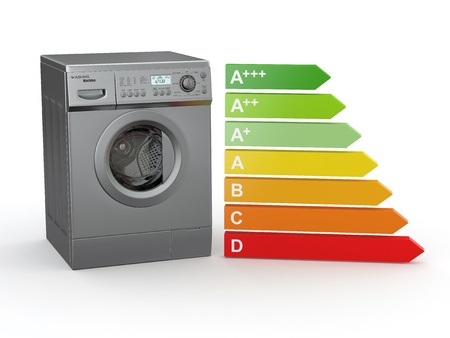Washing machine with the scale of energy efficiency. 3d Stock Photo - 11510882