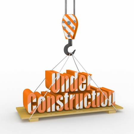 Under Construction. Crane lifts the text on white background. 3d photo