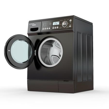 black appliances: Aprire lavatrice su sfondo bianco. 3d Archivio Fotografico