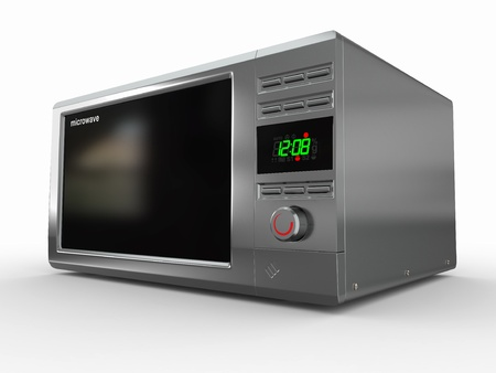 microwave: Closed metallic microwave on white background. 3d