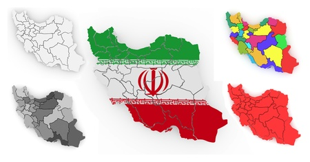 Three-dimensional map of Iran on white isolated background. 3d Stock Photo - 11510857