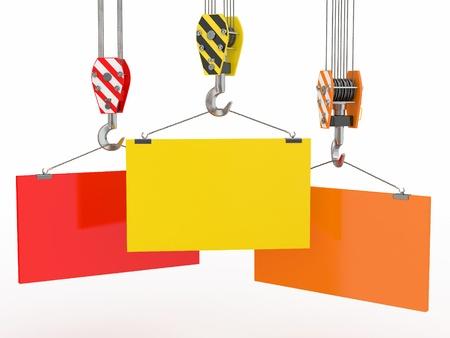 crane parts: Ganchos de gr�a, con placas vac�as en el fondo blanco. 3d