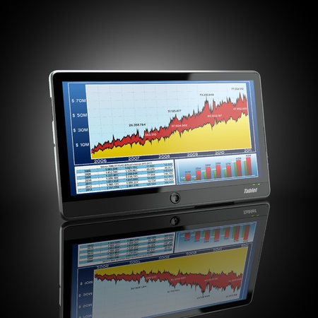 trading board: Tablet pc and business graph on the screen. 3d Stock Photo