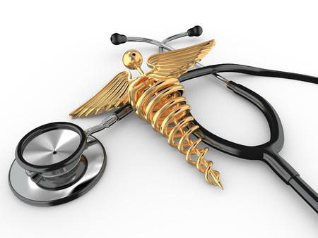 rescue signs: Stethoscope with symbol of medicine, caduceus. 3d Stock Photo