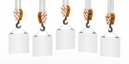 crane parts: Crane hooks with empty boards on white background. 3d