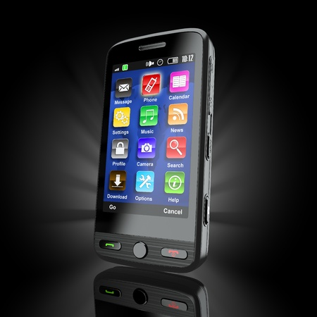 Cellphone. Mobile phone on black background. 3d Stock Photo - 11510871