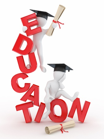 Man with diploma on text education. 3d Stock Photo - 11510872