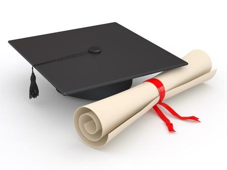 fondo de graduacion: Graduación. Birrete y un diploma en el fondo blanco. 3d Foto de archivo