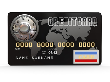 Credit card with steel security lock on white background. 3d Stock Photo - 11510784