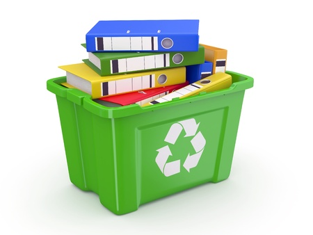 Folders in recycle bin on white background. 3d photo