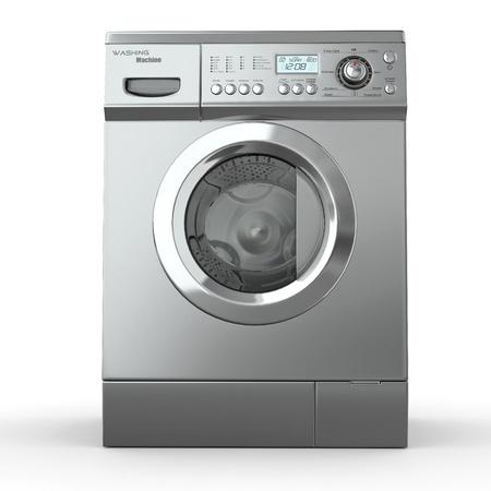 lavando ropa: Cerrado lavadora en el fondo blanco. 3d