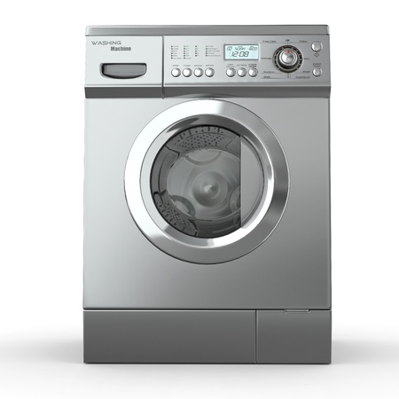 appliances: Closed washing machine on white  background. 3d Stock Photo