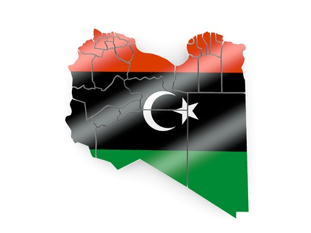 portugese: Map of Libya in Portugese flag colors. 3d Stock Photo