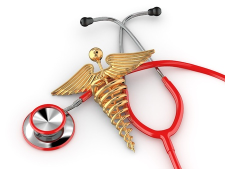Stethoscope with symbol of medicine, caduceus. 3d Stock Photo - 11510869