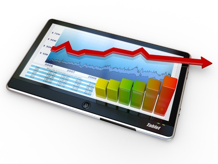 Tablet pc and business graph on the screen. 3d photo