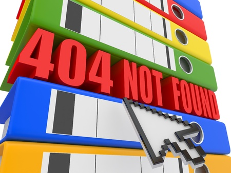 file not found: Error 404. File not found. Binders. 3d Stock Photo