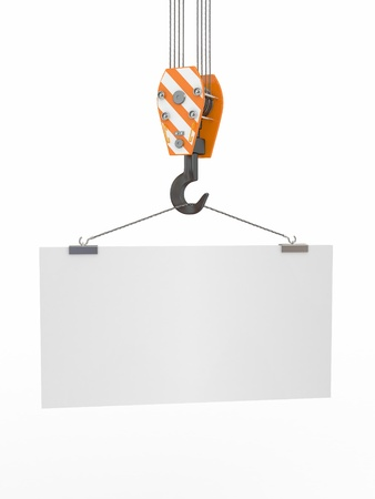 crane parts: Crane hook with empty board on white isolated background. 3d Stock Photo