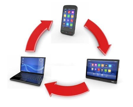 Communication. Laptop, tablet pc and cellphone. 3d photo