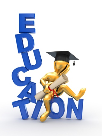 education background: Man with diploma on text education. 3d