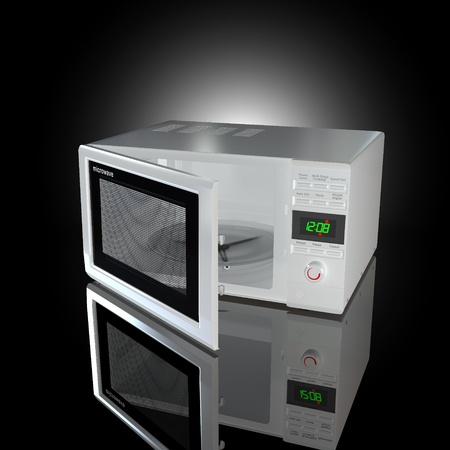 Open white microwave on black background. 3d photo