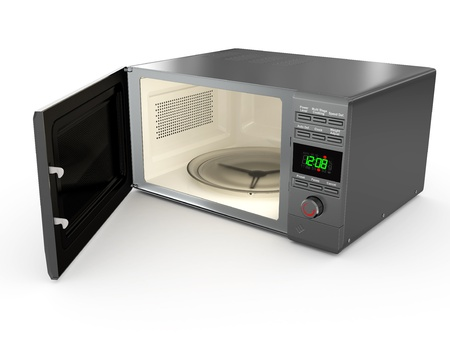 electric material: Open metallic microwave on white background. 3d