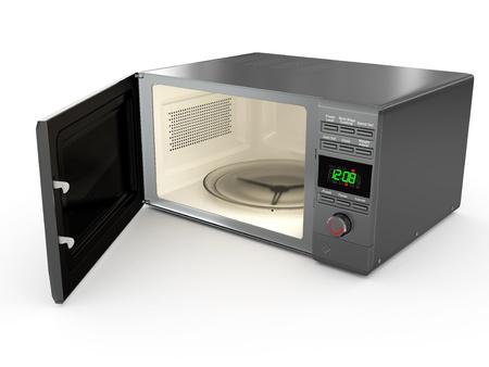 Ouvrir métallique micro-ondes sur fond blanc. 3d
