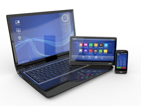 portable information device: Electronics. Laptop, mobile phone and tablet pc. 3d