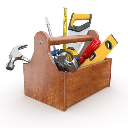 herramientas de carpinteria: Caja de herramientas con herramientas. Skrewdriver, martillo, serrucho y una llave. 3d Foto de archivo