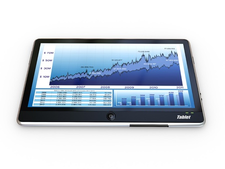 selling stocks: Tablet pc and business graph on the screen. 3d Stock Photo