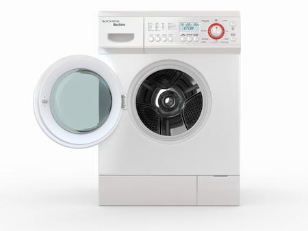 washing clothes: Abrir lavadora en el fondo blanco. 3d Foto de archivo