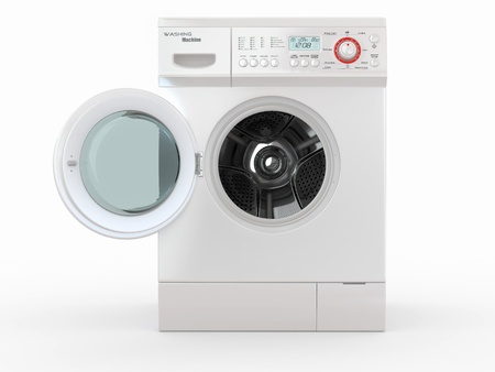load: Open washing machine on white  background. 3d