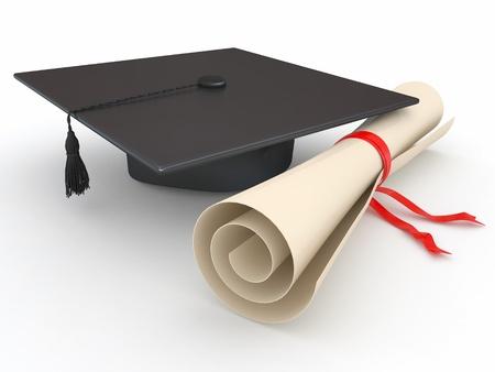 graduacion escolar: Graduaci�n. Birrete y un diploma en el fondo blanco. 3d Foto de archivo