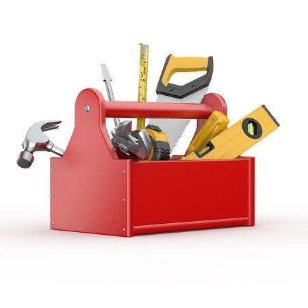 herramientas de construccion: Caja de herramientas con herramientas. Skrewdriver, martillo, serrucho y una llave. 3d Foto de archivo
